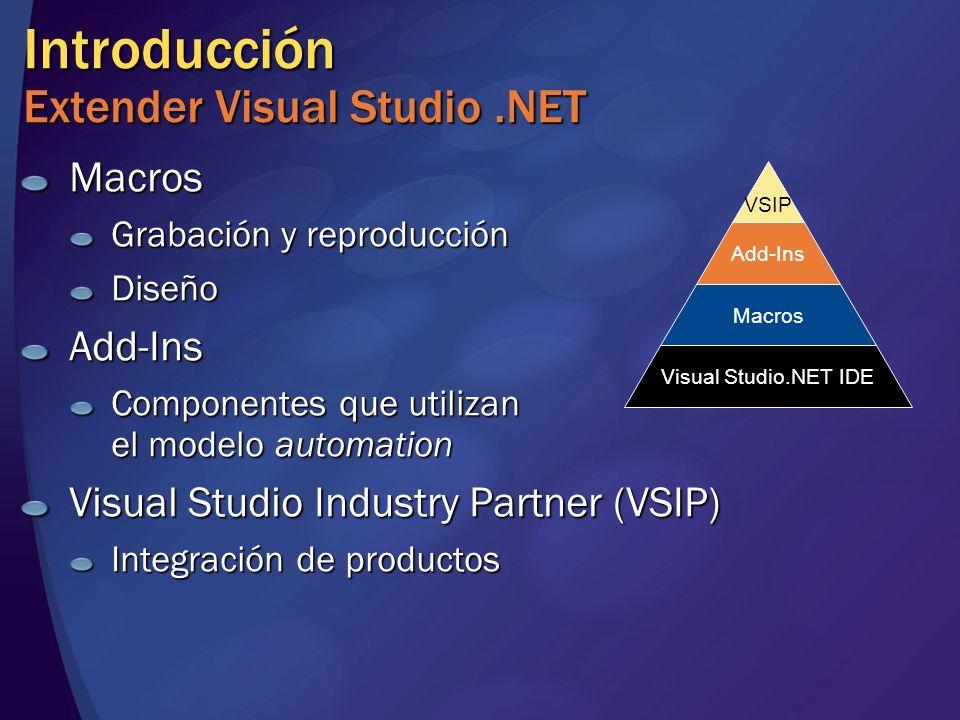 Introducción Extender Visual Studio.NET Macros Grabación y reproducción DiseñoAdd-Ins Componentes que utilizan el modelo automation Visual Studio Industry Partner (VSIP) Integración de productos Visual Studio.NET IDE Macros Add-Ins VSIP