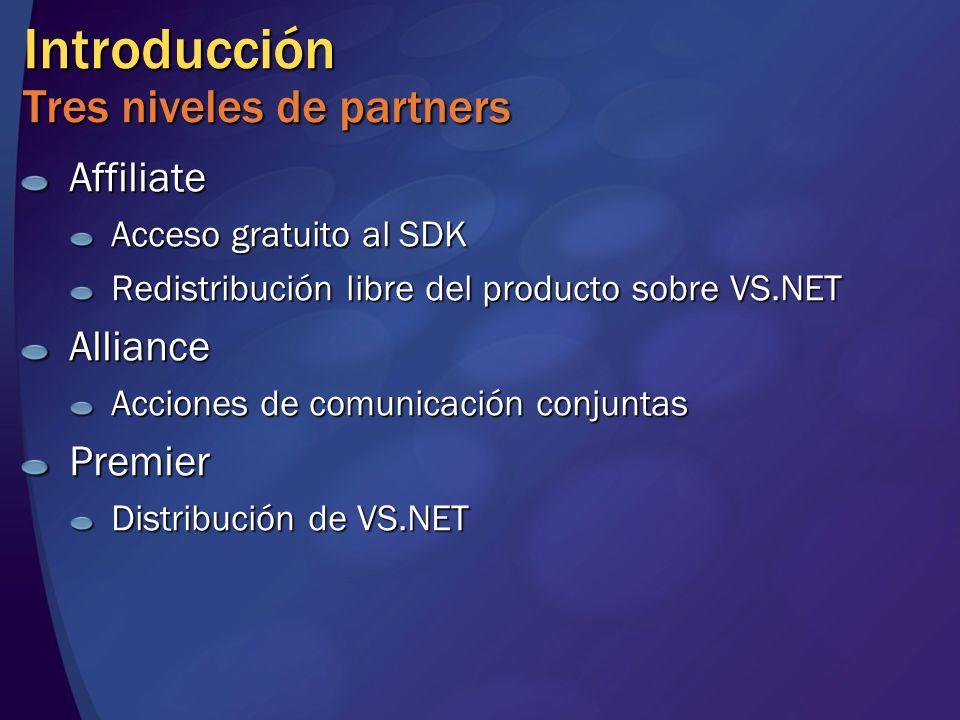 Introducción Tres niveles de partners Affiliate Acceso gratuito al SDK Redistribución libre del producto sobre VS.NET Alliance Acciones de comunicación conjuntas Premier Distribución de VS.NET