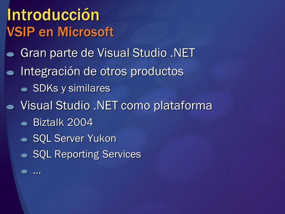 Introducción VSIP en Microsoft Gran parte de Visual Studio.NET Integración de otros productos SDKs y similares Visual Studio.NET como plataforma Biztalk 2004 SQL Server Yukon SQL Reporting Services …