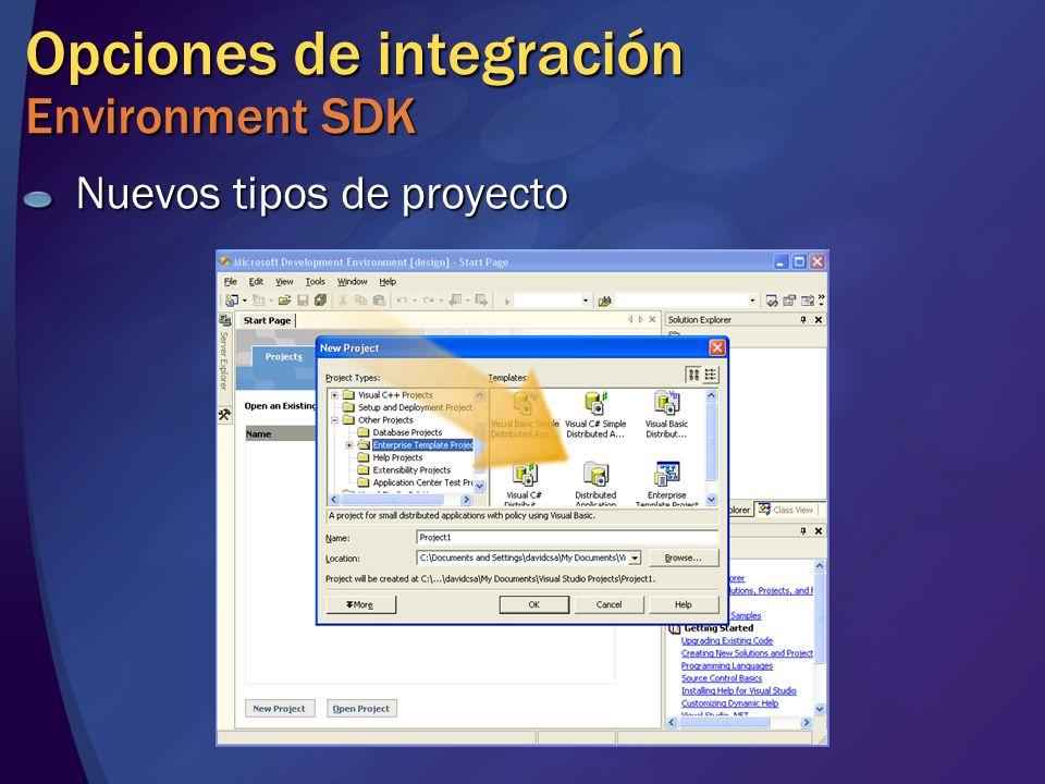 Opciones de integración Environment SDK Nuevos tipos de proyecto