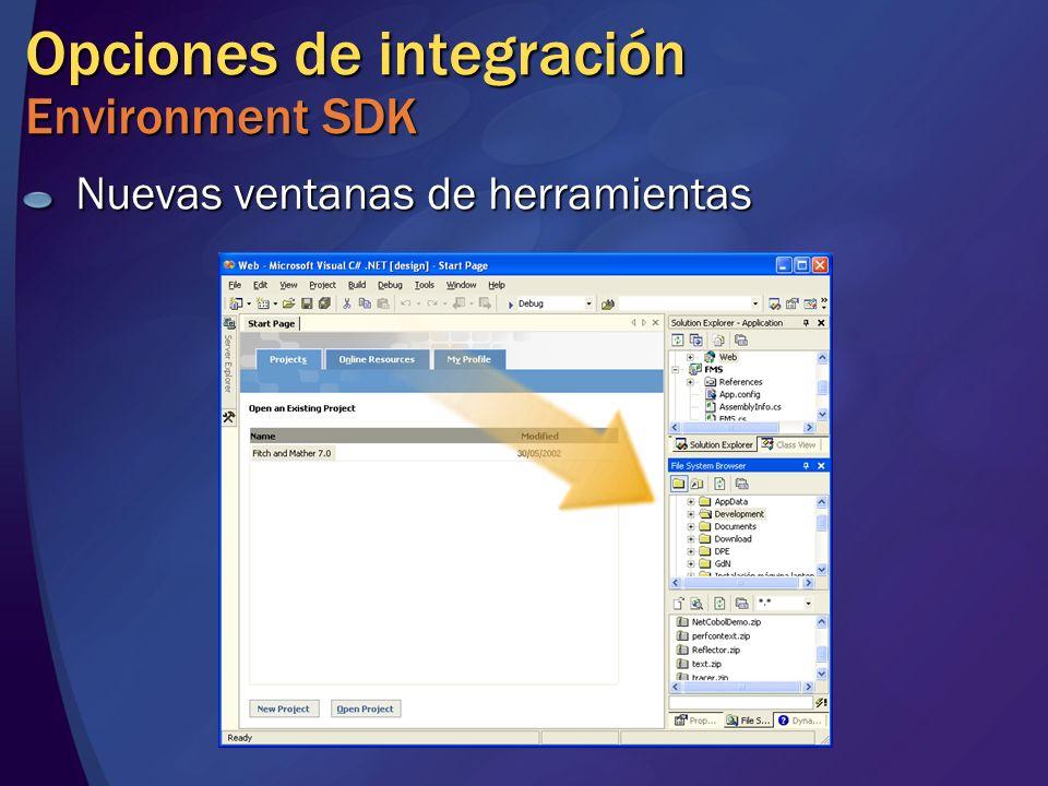 Opciones de integración Environment SDK Nuevas ventanas de herramientas