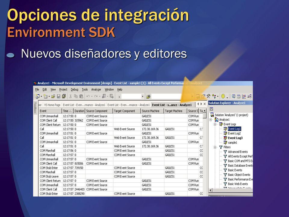 Opciones de integración Environment SDK Nuevos diseñadores y editores