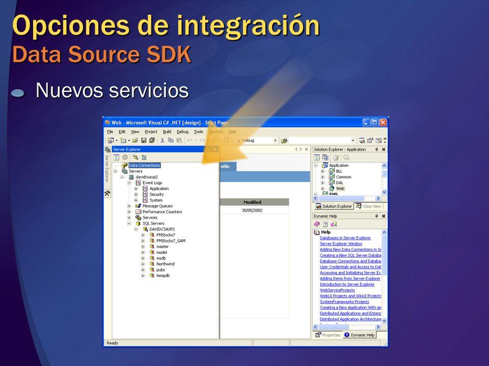 Opciones de integración Data Source SDK Nuevos servicios