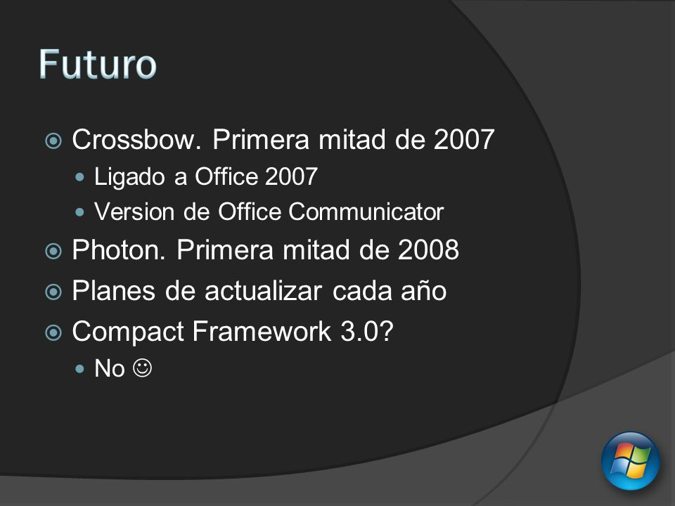 Crossbow. Primera mitad de 2007 Ligado a Office 2007 Version de Office Communicator Photon. Primera mitad de 2008 Planes de actualizar cada año Compac