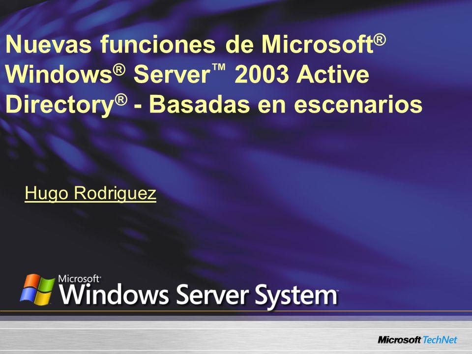 Nuevas funciones de Microsoft ® Windows ® Server 2003 Active Directory ® - Basadas en escenarios Hugo Rodriguez