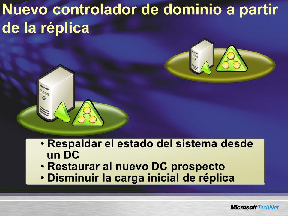 Nuevo controlador de dominio a partir de la réplica Respaldar el estado del sistema desde un DC Restaurar al nuevo DC prospecto Disminuir la carga inicial de réplica Respaldar el estado del sistema desde un DC Restaurar al nuevo DC prospecto Disminuir la carga inicial de réplica