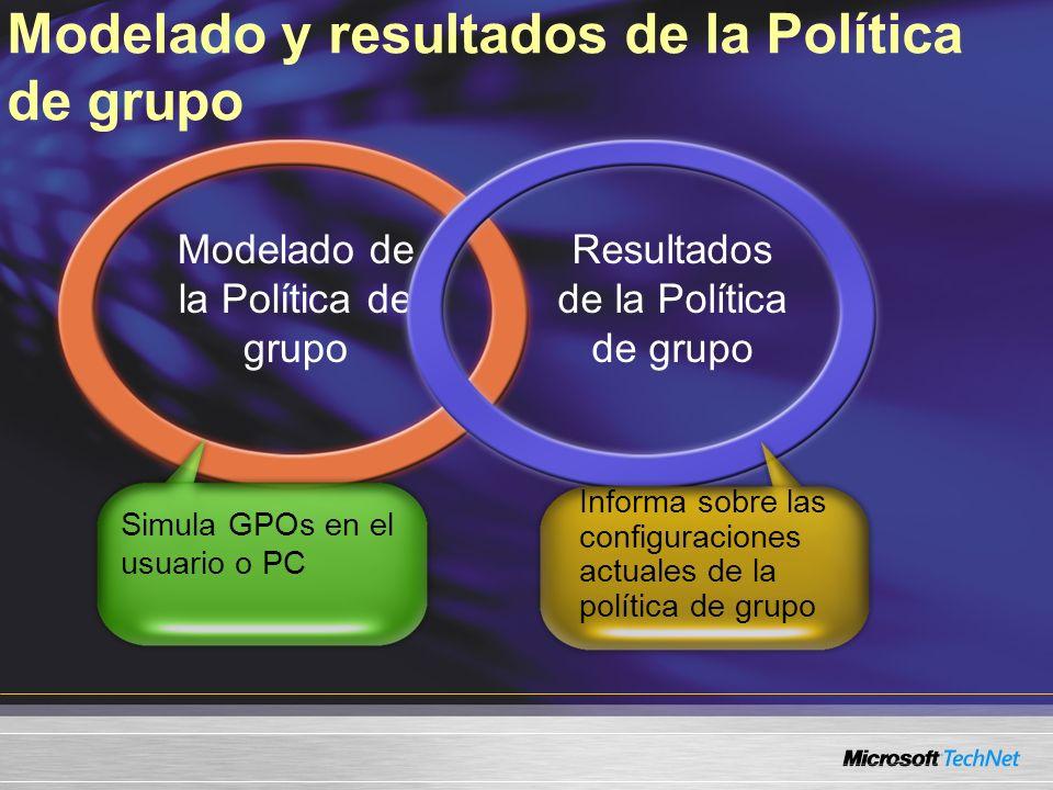 Modelado y resultados de la Política de grupo Modelado de la Política de grupo Resultados de la Política de grupo Simula GPOs en el usuario o PC Informa sobre las configuraciones actuales de la política de grupo