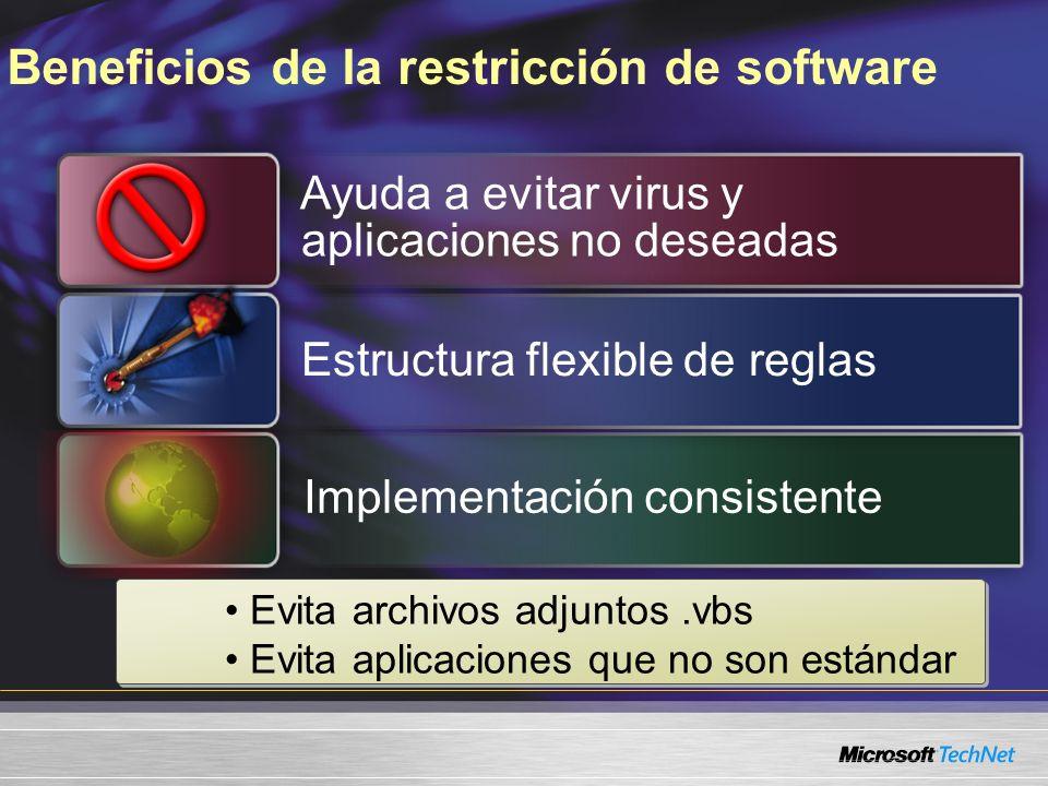 Ayuda a evitar virus y aplicaciones no deseadas Implementación consistente Beneficios de la restricción de software Estructura flexible de reglas Evita archivos adjuntos.vbs Evita aplicaciones que no son estándar