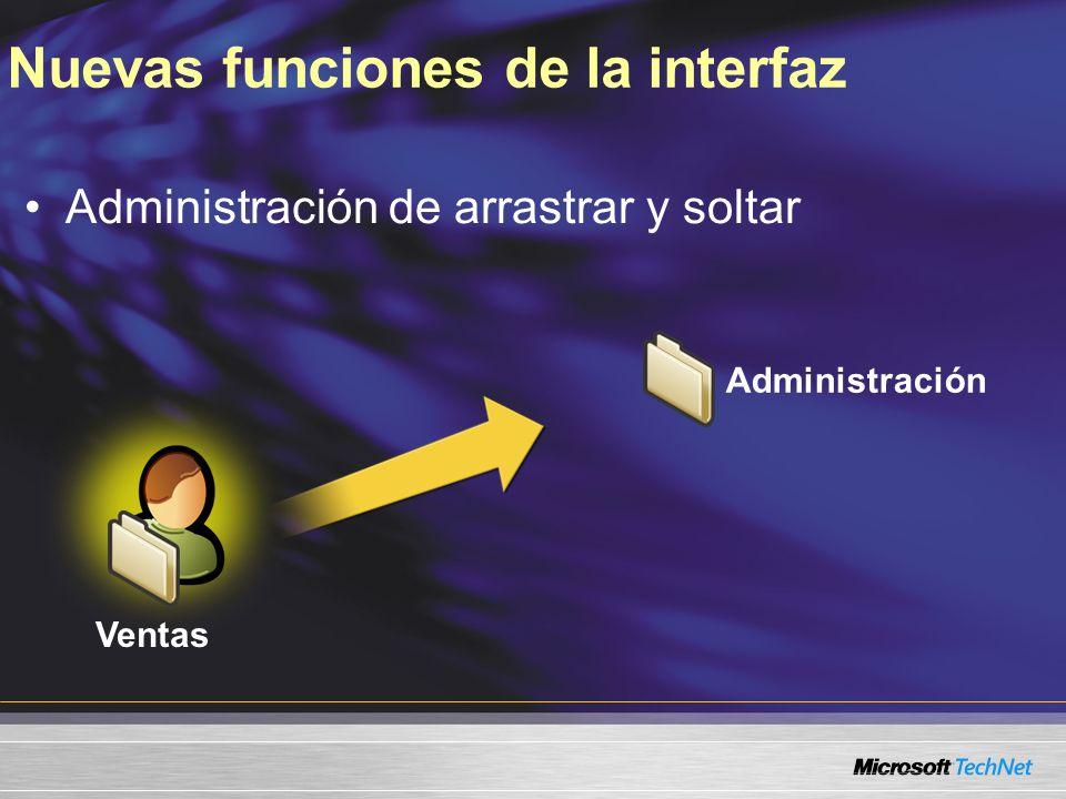 Nuevas funciones de la interfaz Administración de arrastrar y soltar Consultas guardadas Ventas Administración 120 días desde el último inicio de sesión