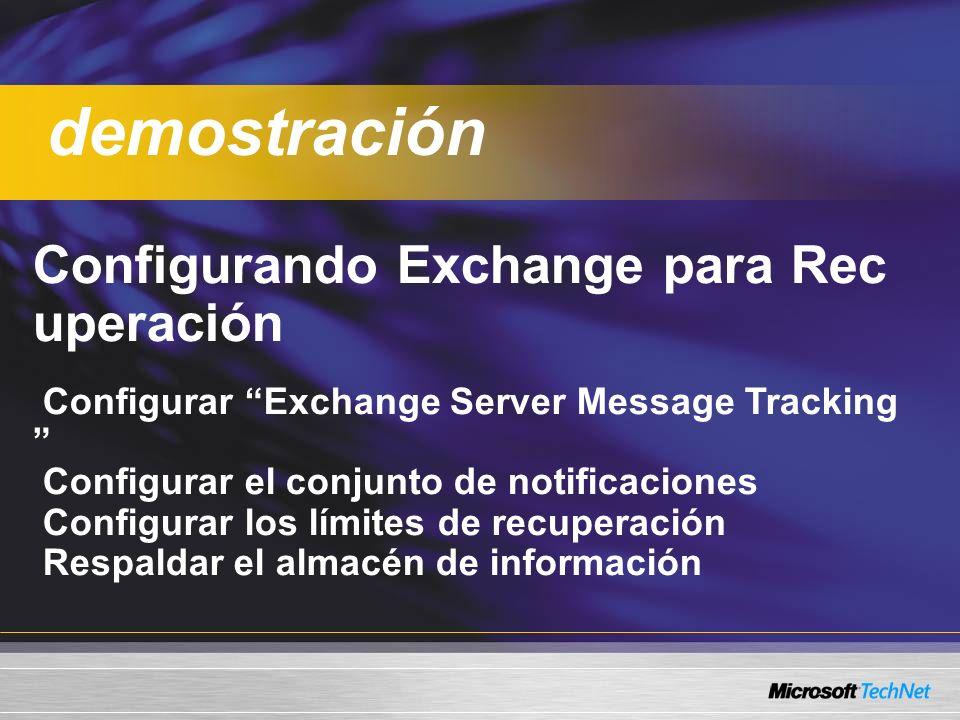 Configurando Exchange para Rec uperación Configurar Exchange Server Message Tracking Configurar el conjunto de notificaciones Configurar los límites de recuperación Respaldar el almacén de información demostración