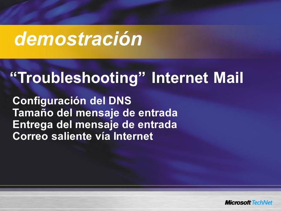 Troubleshooting Internet Mail Configuración del DNS Tamaño del mensaje de entrada Entrega del mensaje de entrada Correo saliente vía Internet demostra