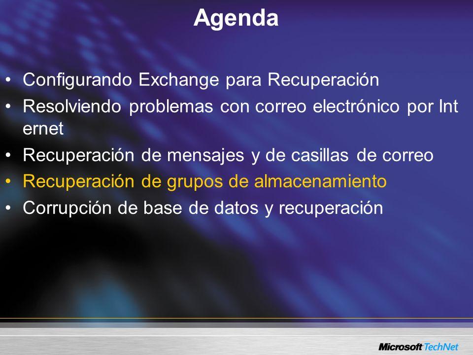 Agenda Configurando Exchange para Recuperación Resolviendo problemas con correo electrónico por Int ernet Recuperación de mensajes y de casillas de correo Recuperación de grupos de almacenamiento Corrupción de base de datos y recuperación