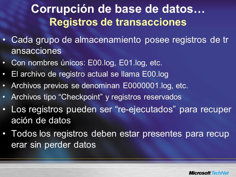 Corrupción de base de datos… Registros de transacciones Cada grupo de almacenamiento posee registros de tr ansacciones Con nombres únicos: E00.log, E0