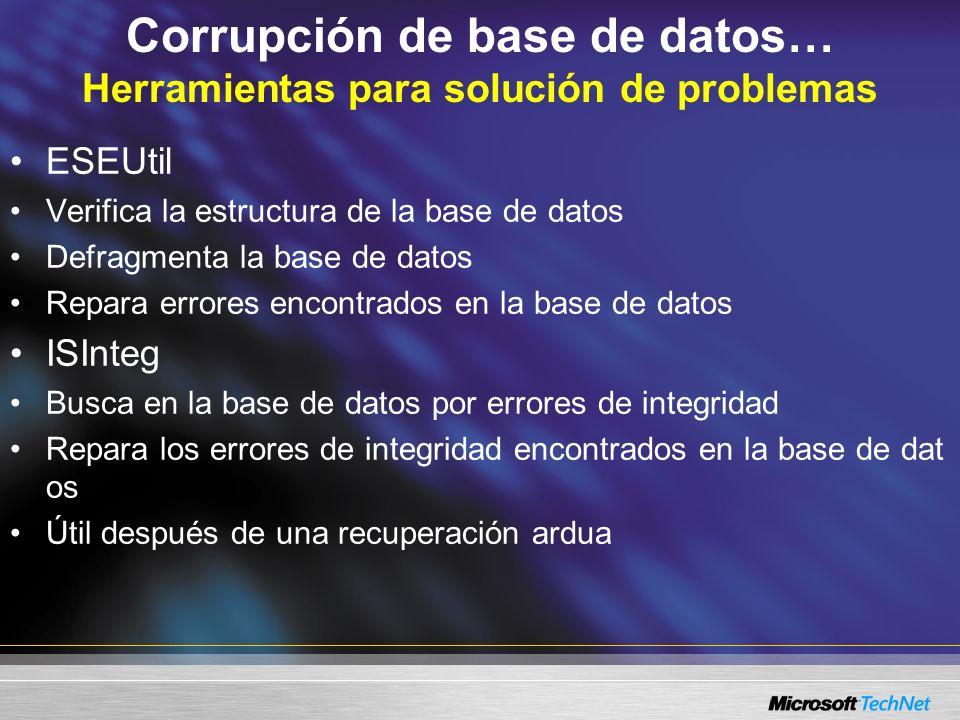 Corrupción de base de datos… Herramientas para solución de problemas ESEUtil Verifica la estructura de la base de datos Defragmenta la base de datos R
