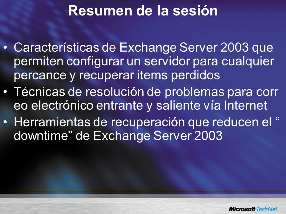 Resumen de la sesión Características de Exchange Server 2003 que permiten configurar un servidor para cualquier percance y recuperar items perdidos Té