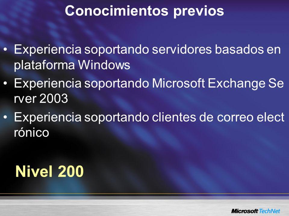 Conocimientos previos Experiencia soportando servidores basados en plataforma Windows Experiencia soportando Microsoft Exchange Se rver 2003 Experiencia soportando clientes de correo elect rónico Nivel 200
