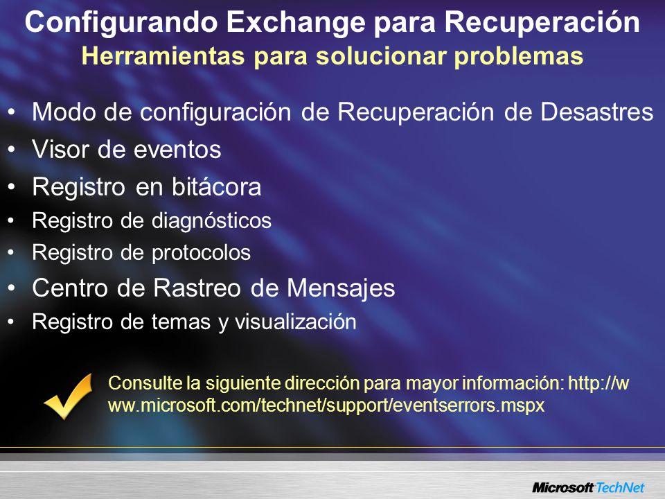 Configurando Exchange para Recuperación Herramientas para solucionar problemas Modo de configuración de Recuperación de Desastres Visor de eventos Reg
