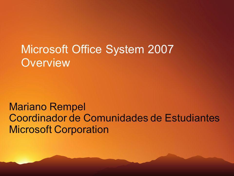 Microsoft Office System 2007 Overview Mariano Rempel Coordinador de Comunidades de Estudiantes Microsoft Corporation