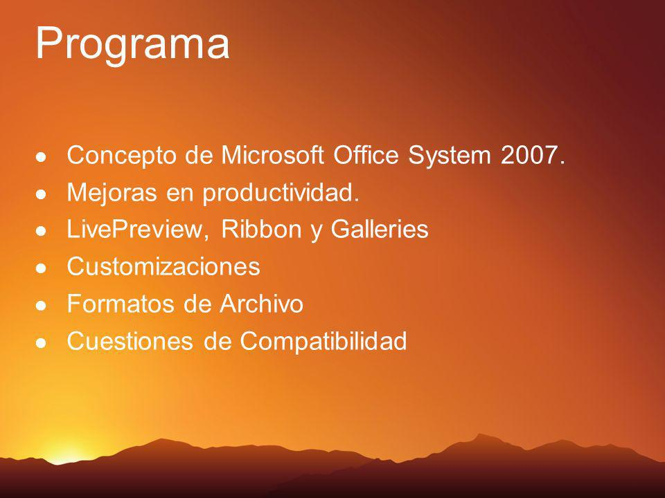 Programa Concepto de Microsoft Office System 2007. Mejoras en productividad. LivePreview, Ribbon y Galleries Customizaciones Formatos de Archivo Cuest