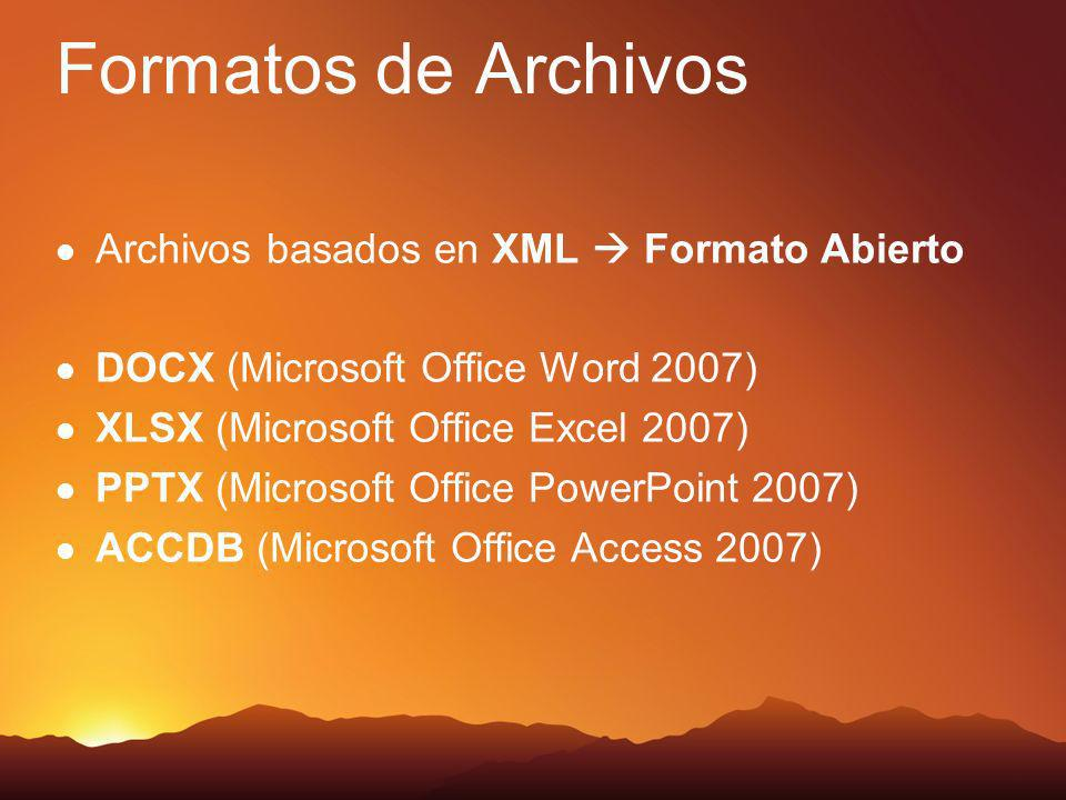 Compatibilidad Totalmente compatible con versiones anteriores de Office utilizando el Add In.