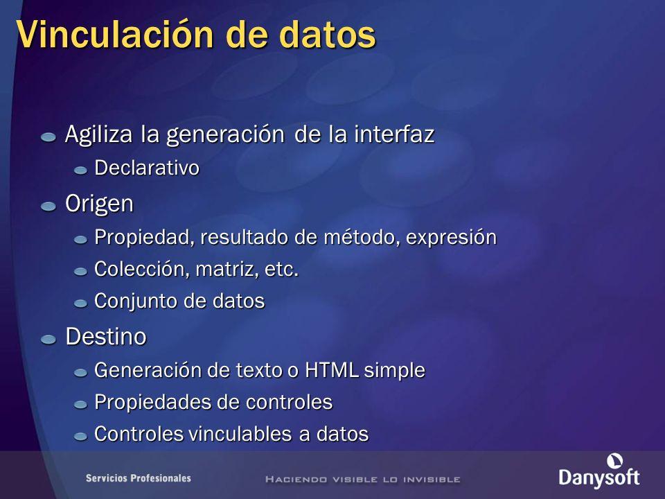 Vinculación de datos Agiliza la generación de la interfaz DeclarativoOrigen Propiedad, resultado de método, expresión Colección, matriz, etc.