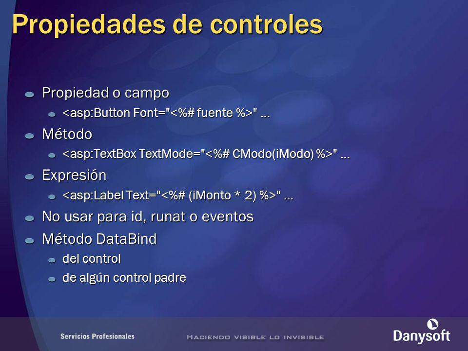 Propiedades de controles Propiedad o campo … …Método Expresión … … No usar para id, runat o eventos Método DataBind del control de algún control padre
