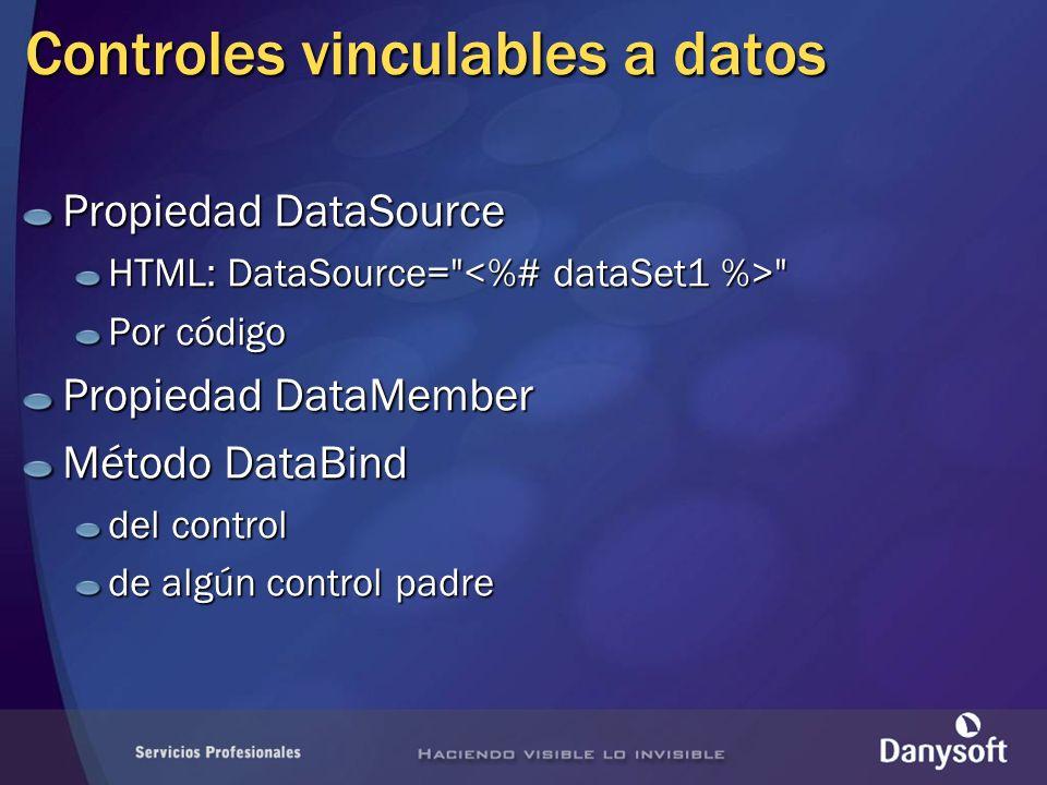Controles vinculables a datos Propiedad DataSource HTML: DataSource= Por código Propiedad DataMember Método DataBind del control de algún control padre