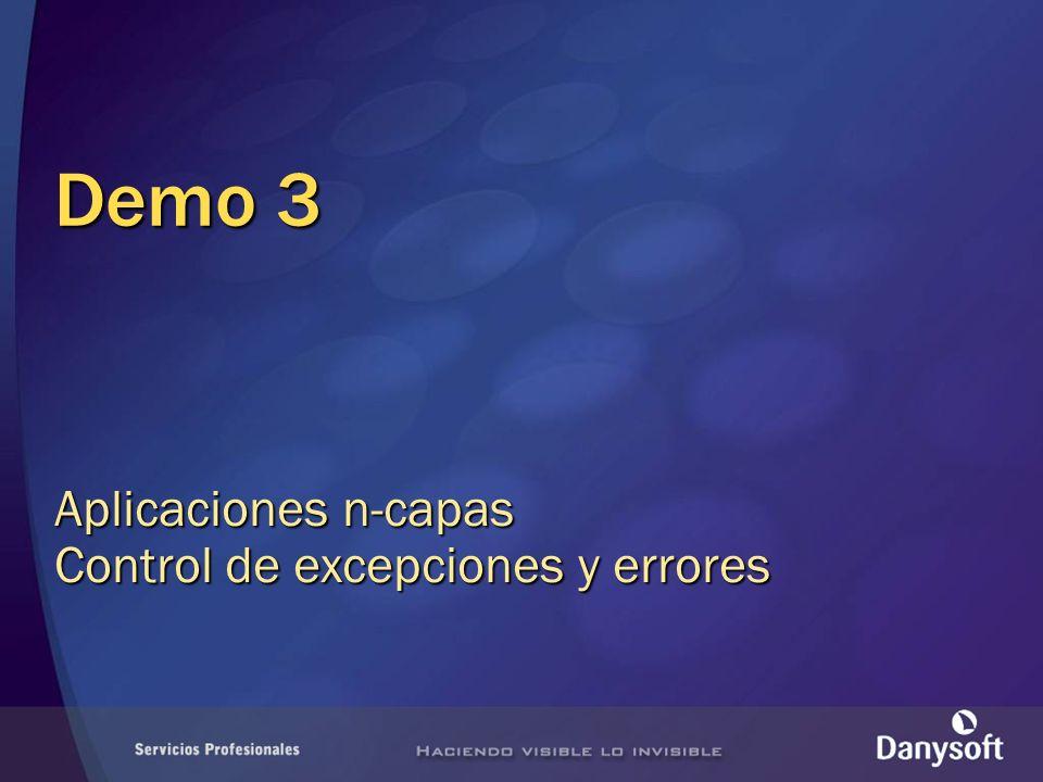 Demo 3 Aplicaciones n-capas Control de excepciones y errores