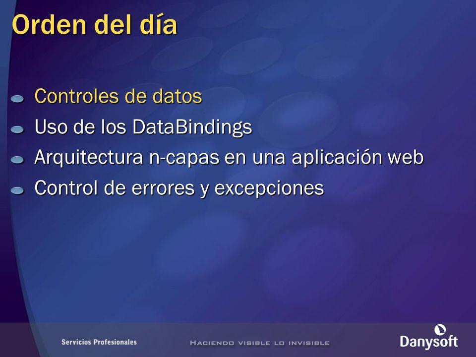 Orden del día Controles de datos Uso de los DataBindings Arquitectura n-capas en una aplicación web Control de errores y excepciones