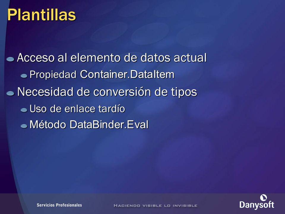 Plantillas Acceso al elemento de datos actual Propiedad Container.DataItem Necesidad de conversión de tipos Uso de enlace tardío Método DataBinder.Eval