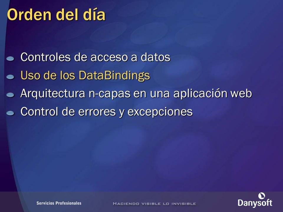 Orden del día Controles de acceso a datos Uso de los DataBindings Arquitectura n-capas en una aplicación web Control de errores y excepciones