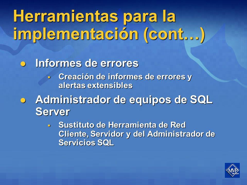 Herramientas para la implementación Windows Installer Windows Installer Instalación mínima y típica ya no se implementan (árbol con opciones predeterminadas) Instalación mínima y típica ya no se implementan (árbol con opciones predeterminadas) Comprobador de Coherencia (SCC) Comprobador de Coherencia (SCC) Comprueba y valida el equipo destino antes de instalar Comprueba y valida el equipo destino antes de instalar