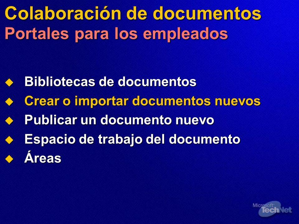 Colaboración de documentos Portales para los empleados Bibliotecas de documentos Bibliotecas de documentos Crear o importar documentos nuevos Crear o
