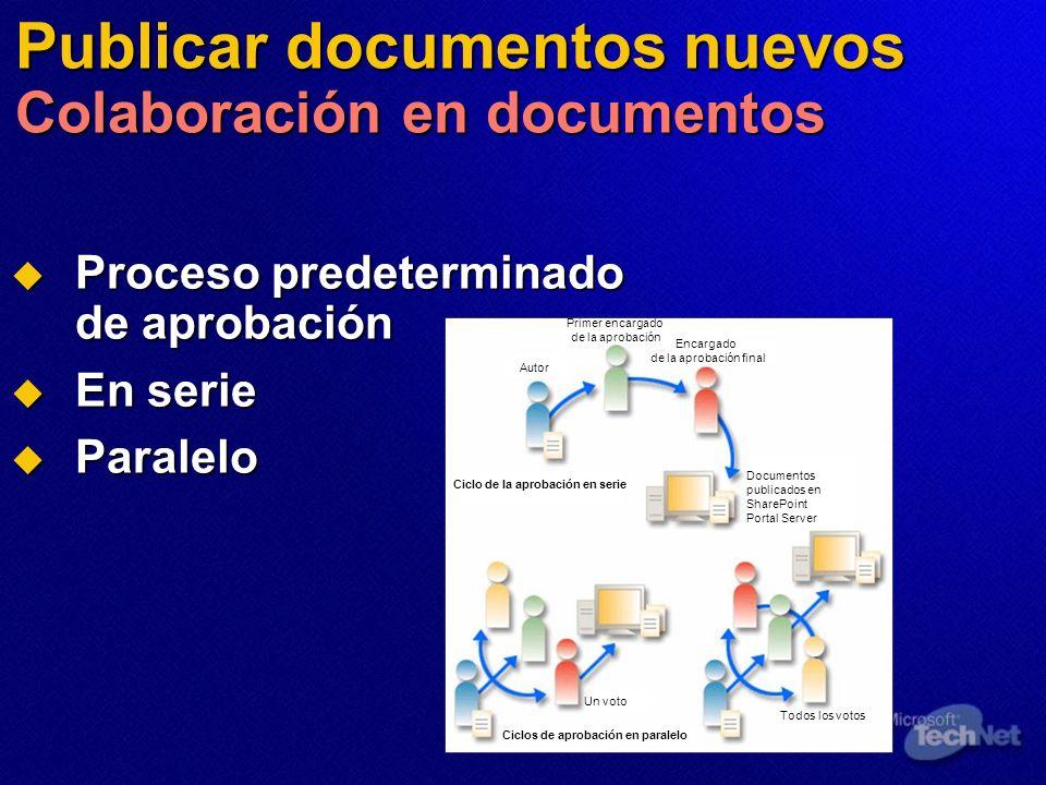 Publicar documentos nuevos Colaboración en documentos Proceso predeterminado de aprobación Proceso predeterminado de aprobación En serie En serie Para