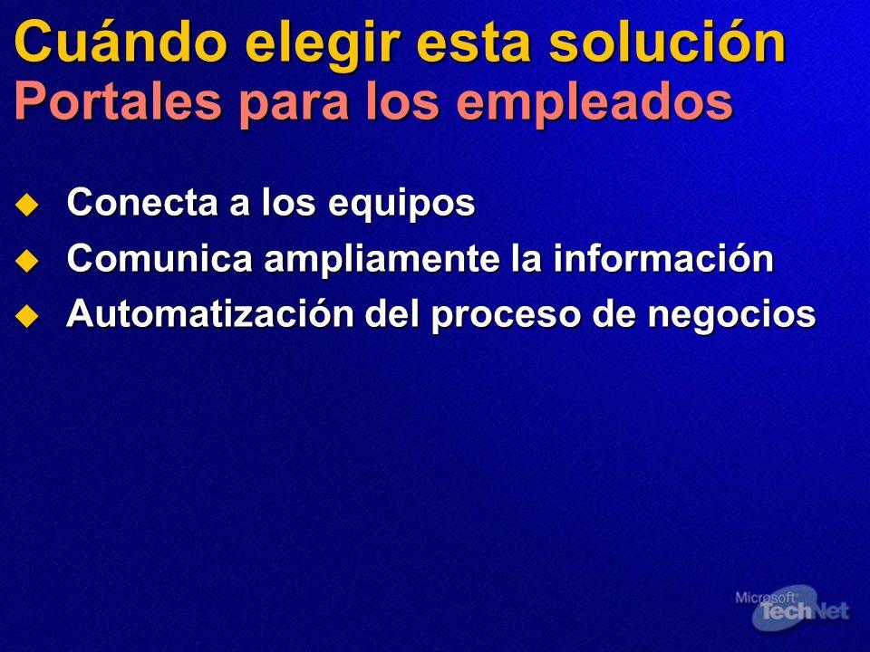 Cuándo elegir esta solución Portales para los empleados Conecta a los equipos Conecta a los equipos Comunica ampliamente la información Comunica ampli