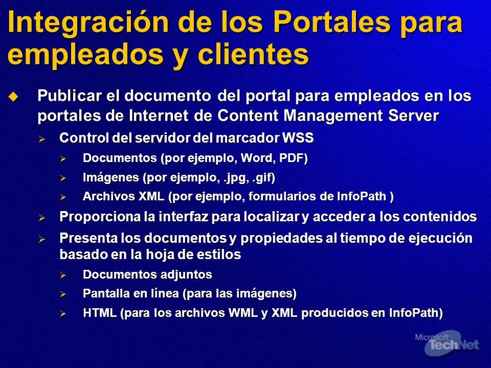Integración de los Portales para empleados y clientes Publicar el documento del portal para empleados en los portales de Internet de Content Managemen