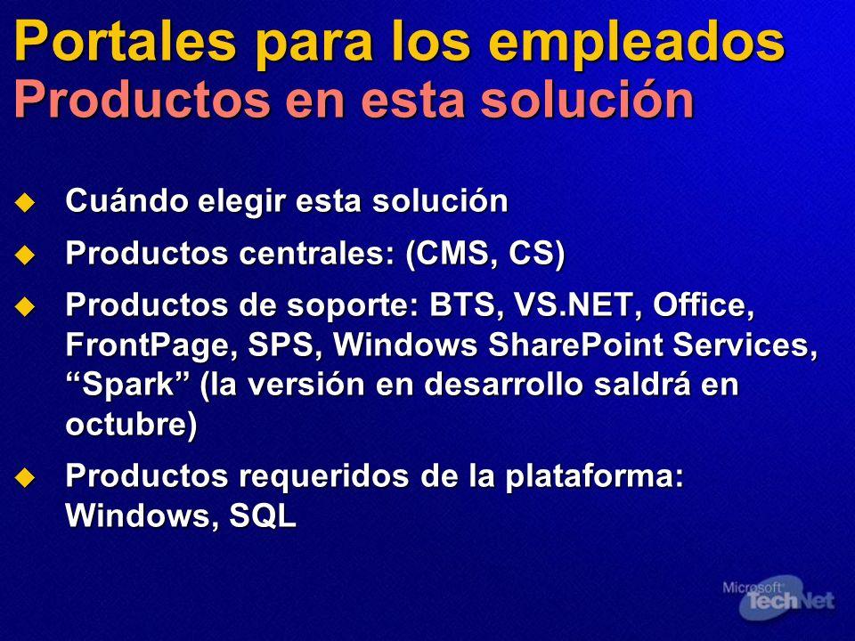 Portales para los empleados Productos en esta solución Cuándo elegir esta solución Cuándo elegir esta solución Productos centrales: (CMS, CS) Producto