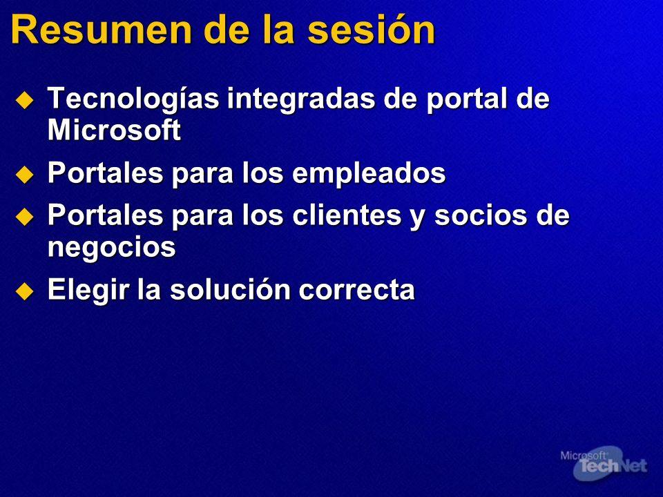 Resumen de la sesión Tecnologías integradas de portal de Microsoft Tecnologías integradas de portal de Microsoft Portales para los empleados Portales