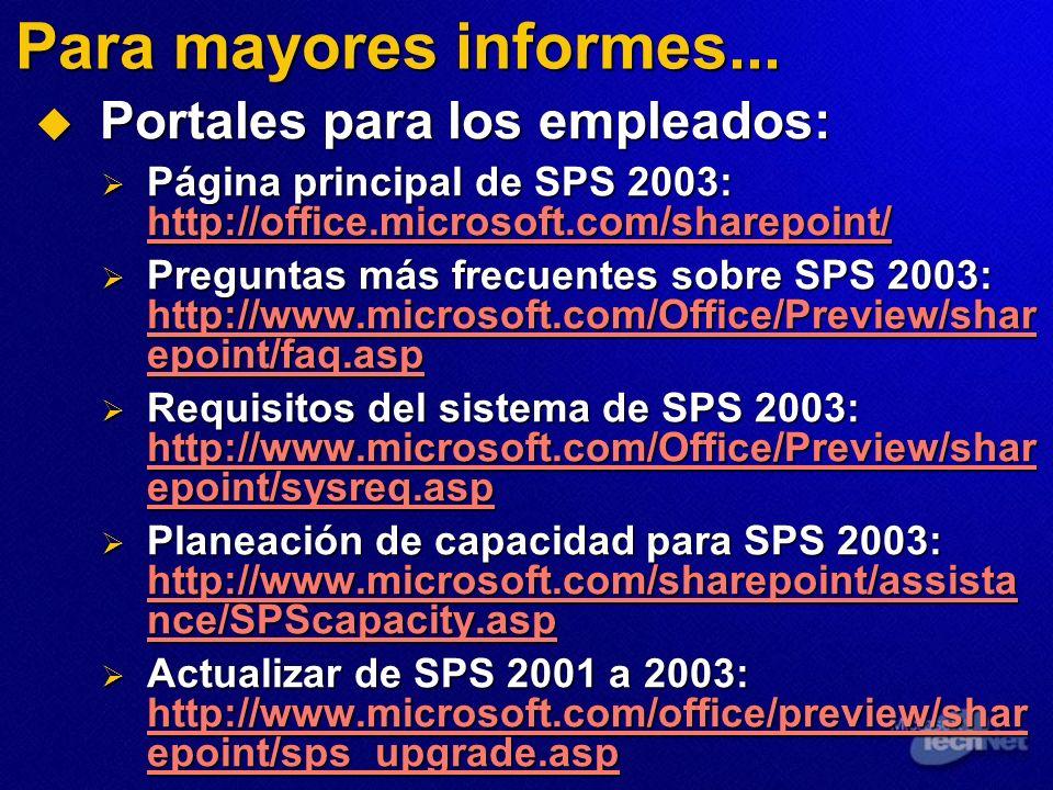 Para mayores informes... Portales para los empleados: Portales para los empleados: Página principal de SPS 2003: http://office.microsoft.com/sharepoin