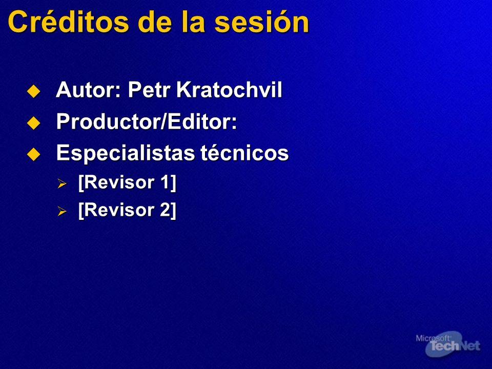 Créditos de la sesión Autor: Petr Kratochvil Autor: Petr Kratochvil Productor/Editor: Productor/Editor: Especialistas técnicos Especialistas técnicos