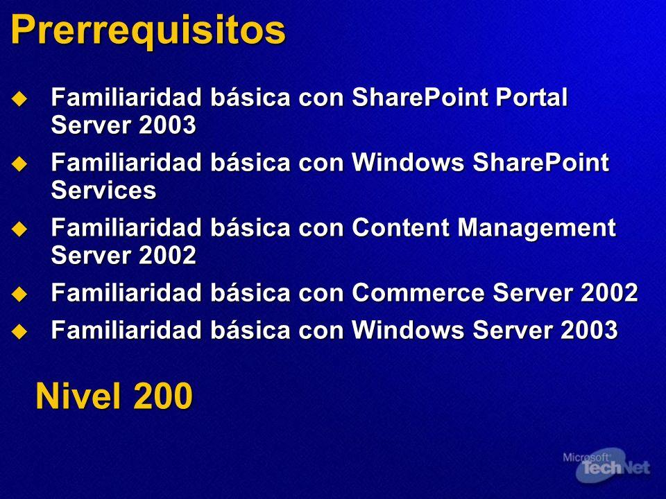 Prerrequisitos Familiaridad básica con SharePoint Portal Server 2003 Familiaridad básica con SharePoint Portal Server 2003 Familiaridad básica con Win