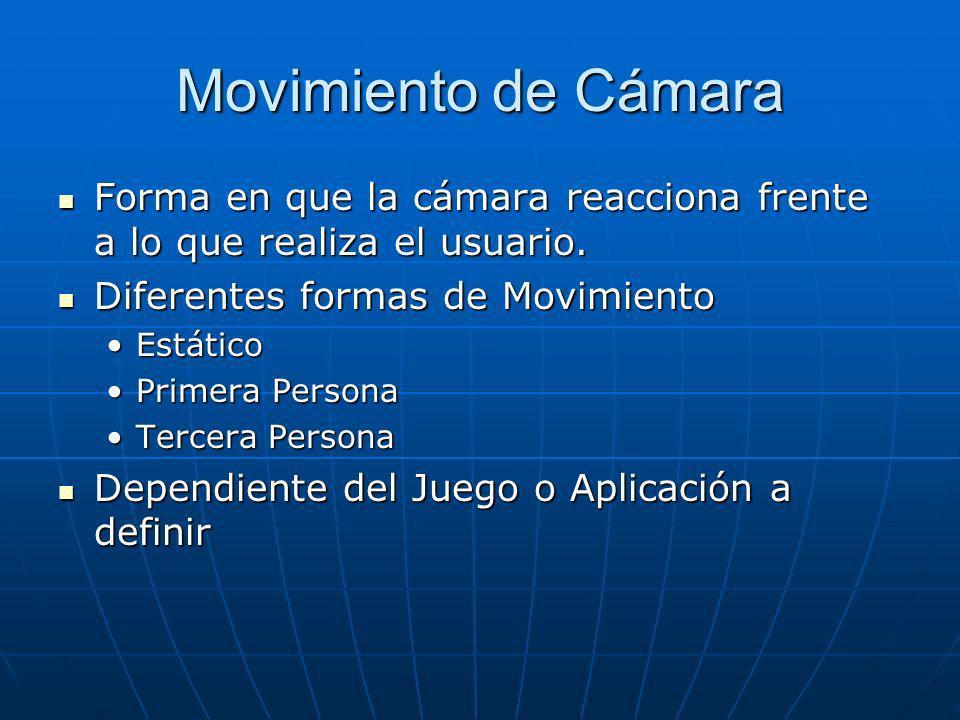 Movimiento de Cámara Forma en que la cámara reacciona frente a lo que realiza el usuario.