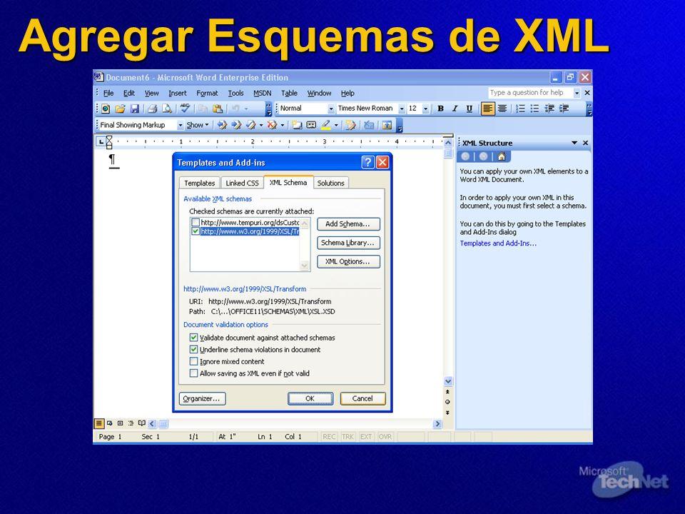 Agregar Esquemas de XML