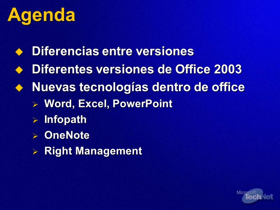 Agenda Diferencias entre versiones Diferencias entre versiones Diferentes versiones de Office 2003 Diferentes versiones de Office 2003 Nuevas tecnolog