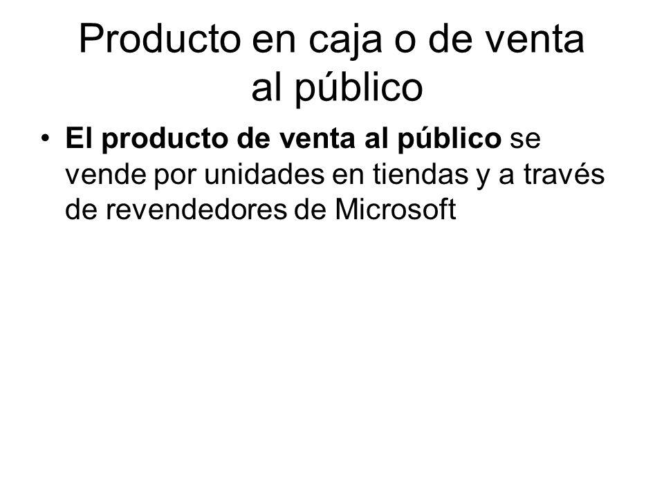 Producto en caja o de venta al público El producto de venta al público se vende por unidades en tiendas y a través de revendedores de Microsoft