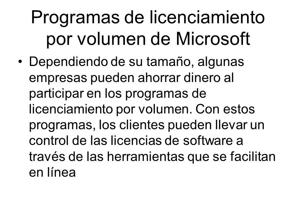 Programas de licenciamiento por volumen de Microsoft Dependiendo de su tamaño, algunas empresas pueden ahorrar dinero al participar en los programas de licenciamiento por volumen.