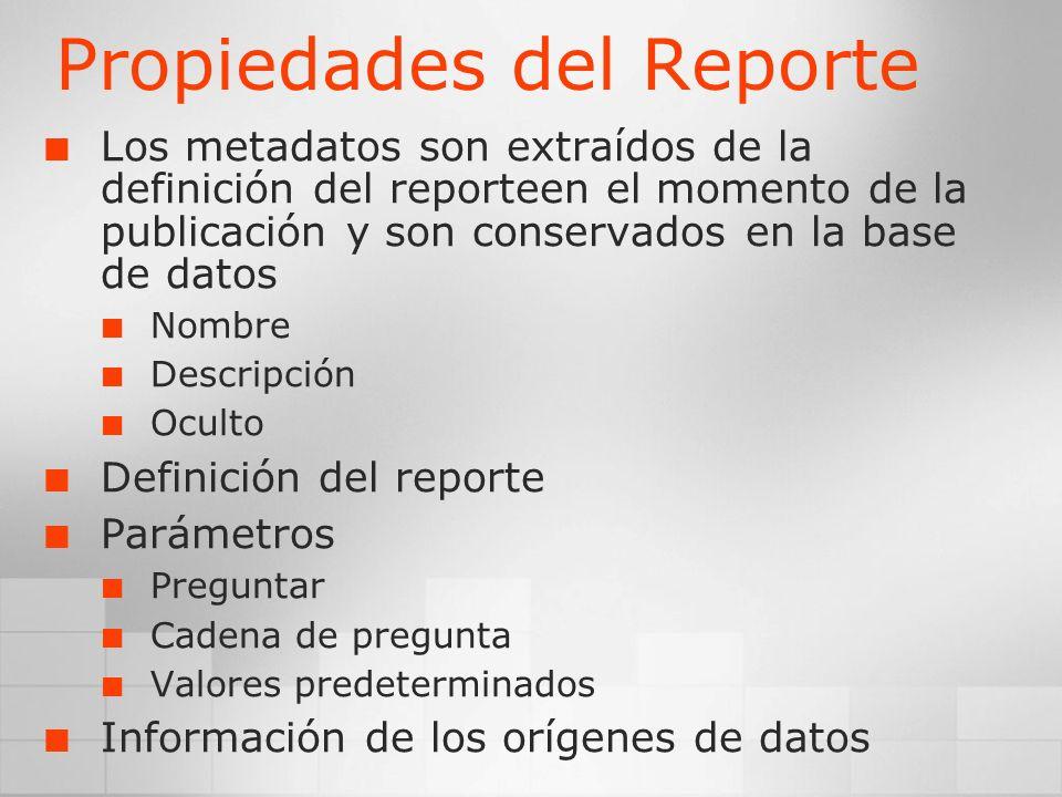 Propiedades del Reporte Los metadatos son extraídos de la definición del reporteen el momento de la publicación y son conservados en la base de datos