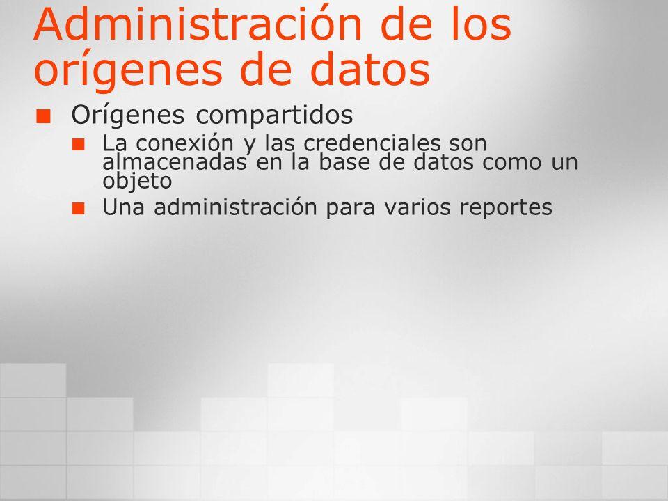 Administración de los orígenes de datos Orígenes compartidos La conexión y las credenciales son almacenadas en la base de datos como un objeto Una adm