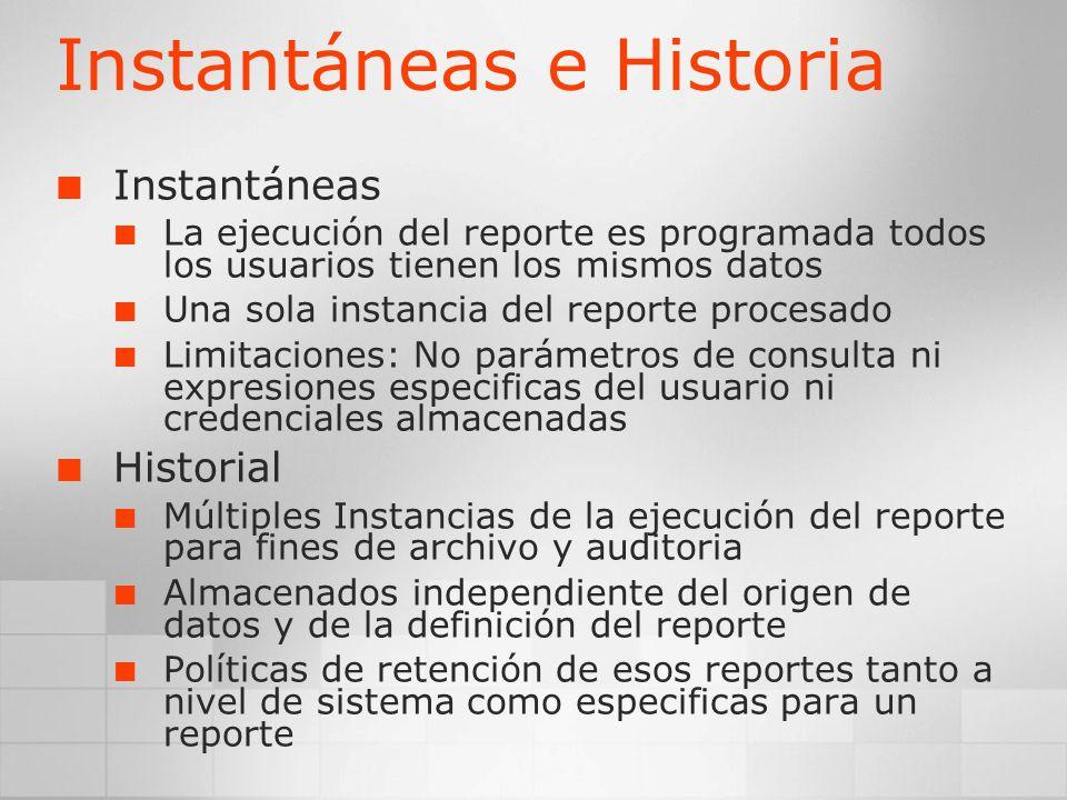 Instantáneas e Historia Instantáneas La ejecución del reporte es programada todos los usuarios tienen los mismos datos Una sola instancia del reporte
