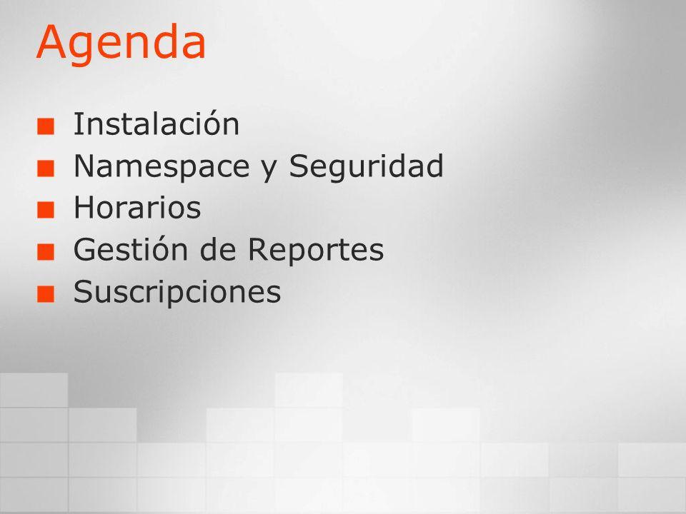 Agenda Instalación Namespace y Seguridad Horarios Gestión de Reportes Suscripciones